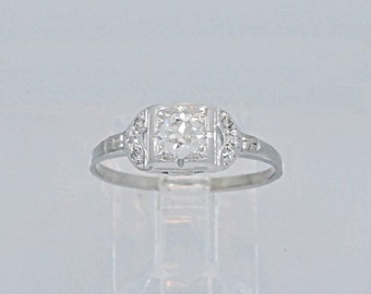 18K White Gold Engagement Ring .35ct. Diamond Art Deco - J34666