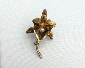 Vintage 1920/30's Orchid Lapel Pin Brooch Gold Washed Silver 925