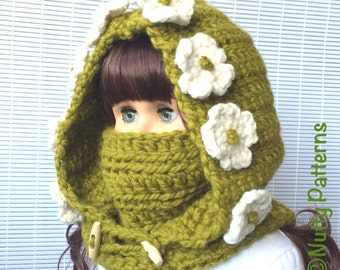 Crochet Patterns * Montana Hooded Cowl * Instant Download Pattern # 473 * baby toddler child teen adult sizes * bulky * easy