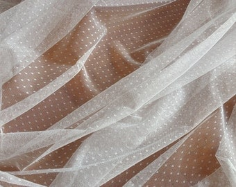 Gathered Swiss Dot Veil  Fabric, Soft Polka dot Tulle Fabric for Bridal, Veils, Curtain, NON-STRETCH, Costume Design, Ivory/Black/White