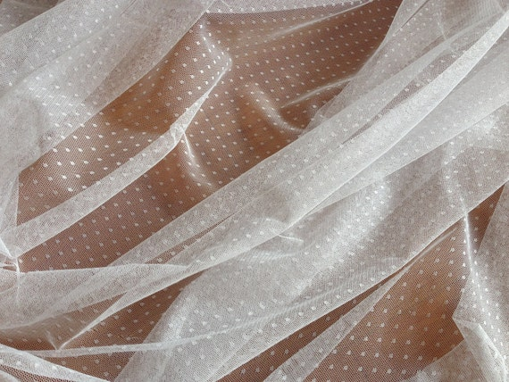 Gathered Swiss Dot Veil Fabric Soft Polka Dot Tulle Fabric