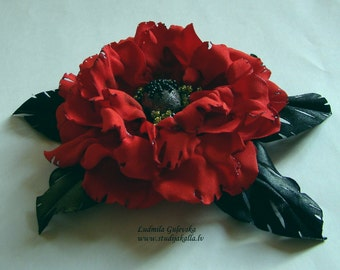 Handmade red satin flower brooch, flower pin, red poppy