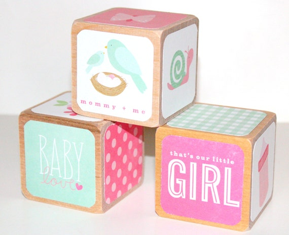 Baby Girl Nursery - Wooden Baby Blocks - Pink Decor - Owl ...