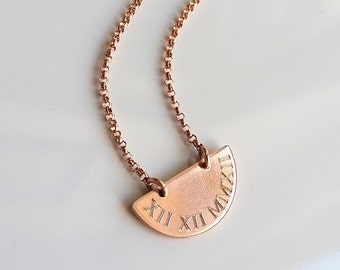 Rose Gold Roman Numeral Necklace - Rose Gold Disc Necklace - Save The Date Necklace - Personalized Date Necklace - Engraved Necklace