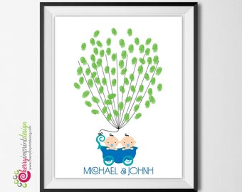 Unique Two Peas in a Pod / Sweet Little Peas Fingerprint Thumbprint Guest Book Great Multiples Baby Shower Guest Book DIY (Digital File)