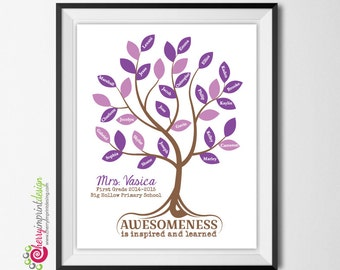 "Printable Teacher Appreciate Gift Keepsake - ""The Tree of Awesome"" - Student Names Classroom Wall Art DIY and Personalize (Digital File)"