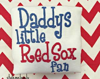 Daddys Little Red Sox fan Baby Shirt, Baseball Baby Shirt