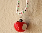 Apple Charm Hand Beaded Necklace, White, Red, Green, Fairy Tale Jewelry