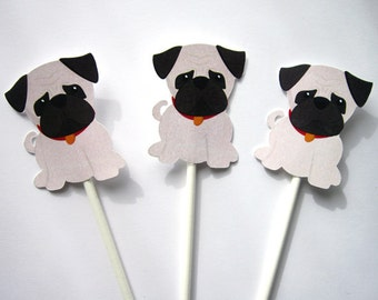 Puppy Party Cupcake Toppers - Pug Cupcake Toppers