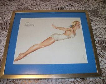 Beautiful Blonde 40s SWIMSUIT PINUP Diving Vargas Girl Picture in Frame Maybe came from  Calender or could be a 80s Repro
