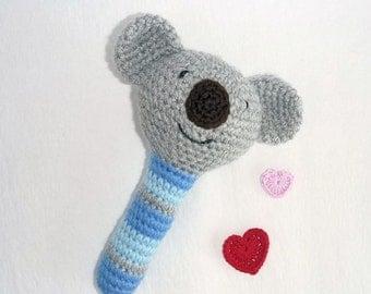 Amigurumi Koala Baby Rattle, Crochet Baby Toy, Australian Animal, Baby safe Toy, Australian Made