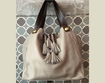 Natural hobo bag, oversized leather purse, carryall ivory leather bag, soft leather bag