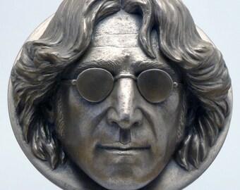 John Lennon portrait wall-hanging sculpture cast in bronze, brass or grey