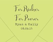 Custom Wedding Stamp, For Richer or For Poorer, Favor Stamp, -custom logo stamp-Wedding Favors, For Richer or Poorer, Lottery Favor Stamp