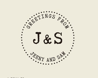 """greeting from family  custom rubber stamp, Custom Stamps -holiday greeting stamp-1.8"""" x1.8""""- Rubber Stamps-personalized stamp"""