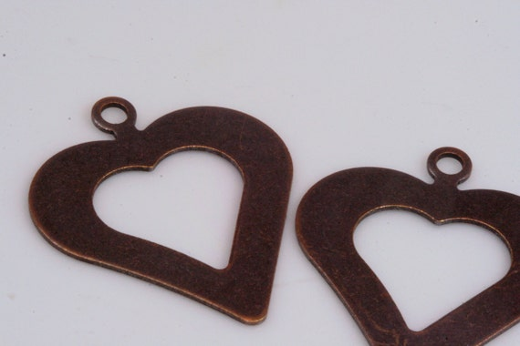 10 pcs 35 x 30 mm (thickness 0.8 mm 20 gauge) antique copper tone heart shape tag stamp tag charms with 1 hole ,findings 1038AC-29