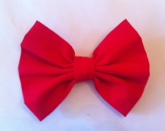 Red Hair Bow - Bright Red Fabric Hair Bow