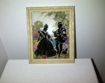 Vintage Convex Glass Silhouette Pictures Black Reverse Painting