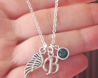 Angel Wing Necklace, Little Angel Necklace, Personalized Angel Necklace, Personalized Angel Wing Necklace, Letter Birthstone, Custom, CLCB
