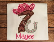 Pink and Brown Cowgirl Birthday Shirt or Baby Bodysuit