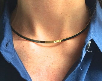 Gold choker, thin gold choker, gold collar necklace, delicate  gold choker necklace, simple gold choker,  skinny gold bar choker,