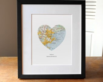 Salem Massachusetts City Heart Print, Massachusetts Art, Salem City Print, Custom City Art