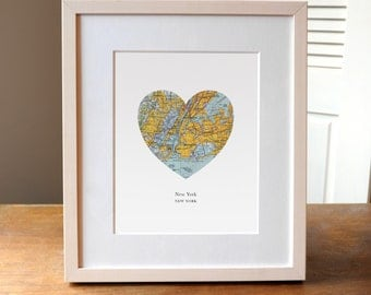 New York Heart Map, New York Print, New York Map, New York City, New York Art