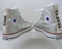 Premium Wedding Converse-Pearl Converse- All over Sparkling- Bridal footwear-Wedding shoes -Prom shoes - Bridal footwear -Pearl toes