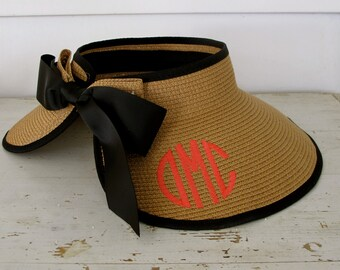 Straw Visor- Monogram  on the BACK