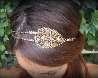 "Headband ""Clementine"" Bohemian bronze pink powder and chains"