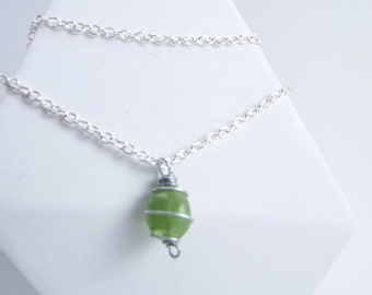 Peridot Raw Stone Wire Wrapped Pendant Necklace