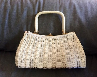 Vintage White Wicker Mid Century Purse with Brass Accents