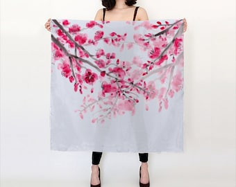 Cherry Blossom  Scarf, pink ~ silk scarf, poly chiffon, silk charmeuse - accessories, watercolor Sumi vibrant  scarves, shawl, cover-up