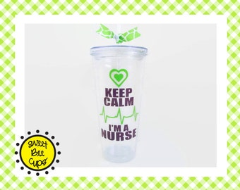 Keep Calm I'm a Nurse Acrylic Cup, LPN Nurse, Trauma Nurse Gift, Cardiac Care Nurse gift, ER Nurse, Triage Nurse, ccu Nurse, Heartbeat, ekg
