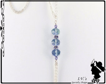 Blue Crystal Bead Pendant Necklace