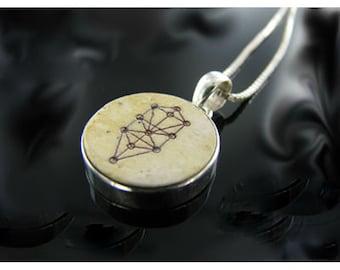 Tree of life, Silver talisman, Jerusalem stone necklace, Jewish amulets, Jerusalem stone inset pendant.