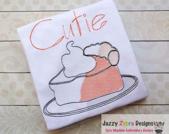 Slice of Pie Sketch Embroidery Design