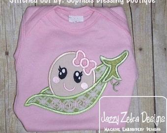 PeaPod Baby Girl Appliqué embroidery Design - girl Appliqué Design - baby Appliqué Design - pea pod Appliqué Design