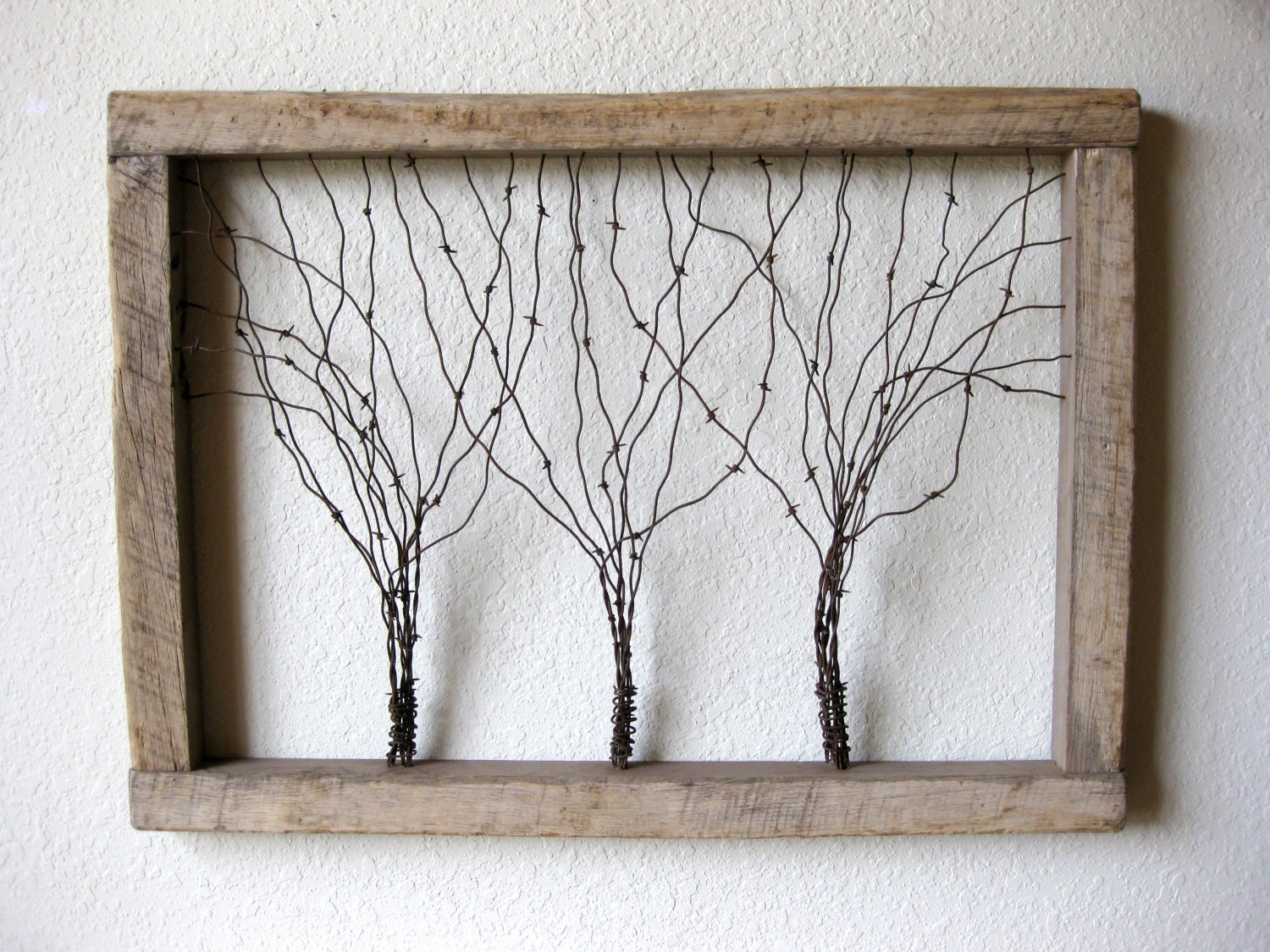 Wire And Glass Wall Art Home Decor ~ Large reclaimed barn wood and barbed wire tree wall art
