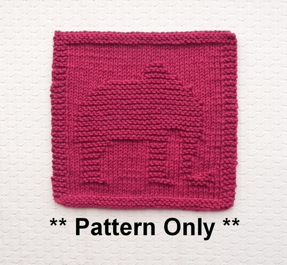 Easy Elephant Knitting Pattern : Knitted DISHCLOTH Elephant PATTERN Instant Download Knit