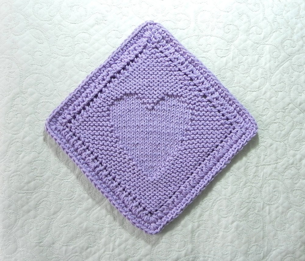 Diagonal HEART Knit Dishcloth / Wash Cloth by AuntSusansCloset
