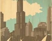 Chicago Skyline Vintage Art Print