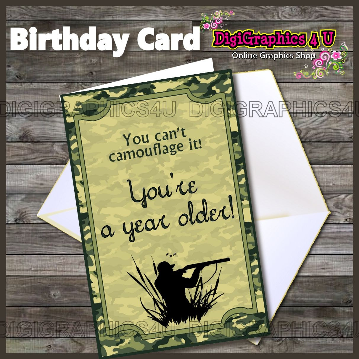 Camo Hunting Inspired Birthday Greeting Card Digital File