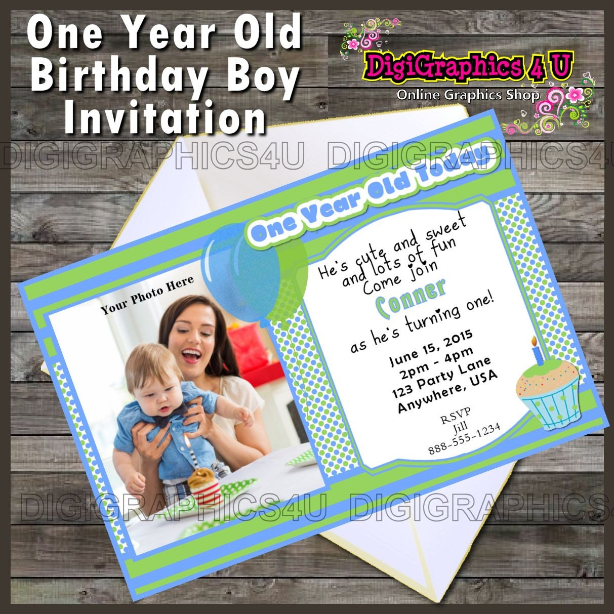 One Year Old Birthday Boy Printable Birthday Invitation