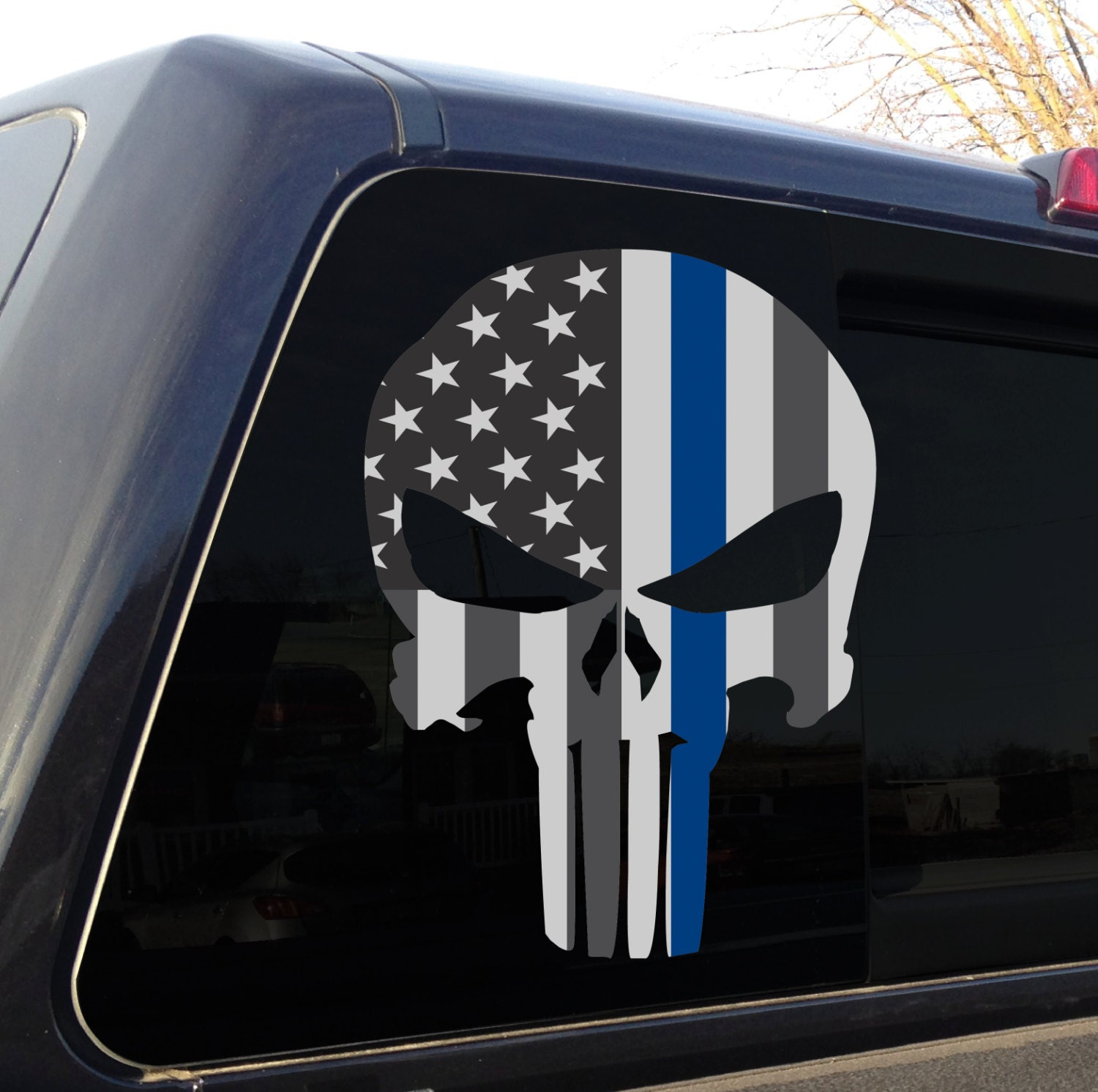 Punisher Skull American Flag Police Blue Line Decal Sticker