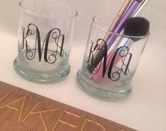 Set of Monogrammed Makeup Brush Holders