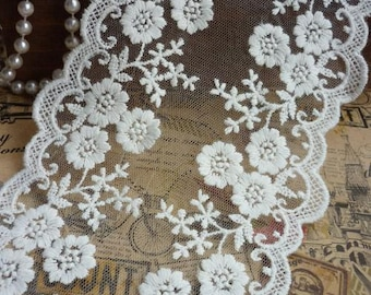 """Lace Trim Lace Fabric Ivory White Rose Embroidery Wedding Fabric 4.33"""" width 1 yard"""