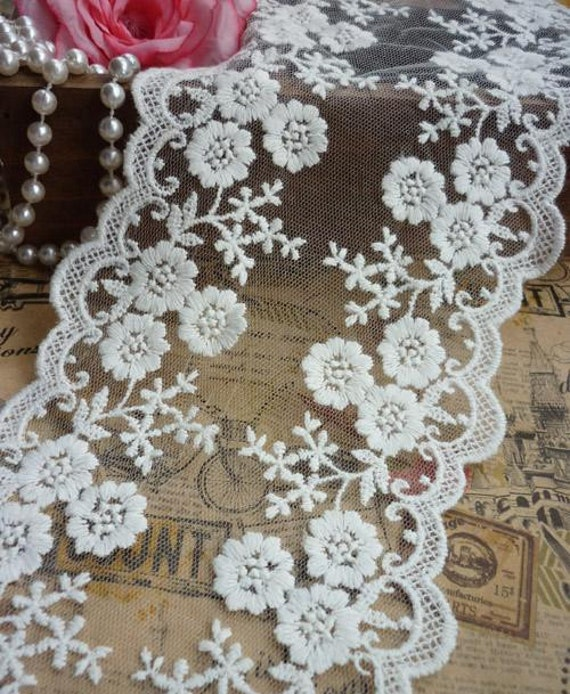 Lace trim fabric ivory white rose embroidery wedding