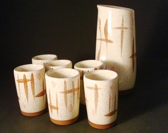 Roche Ceramics Pitcher & 6 Tumblers. 1950s Atomic Studio Pottery. Mid Century Modern.
