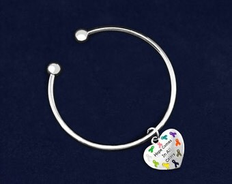 Multi Colored Ribbon Hope Open Bangle Bracelet (RETAIL) (RE-B-49C84-MC)